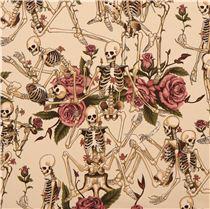 Henry Stoff beiger henry skelett totenkopf stoff s