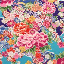 Tessuto blu asia floreale kokka dal giappone tessuti a - Tessuti fiorati ...