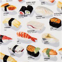 funny white sushi fabric robert kaufman food fabric fabric kawaii shop modes4u. Black Bedroom Furniture Sets. Home Design Ideas