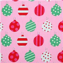 Pale Pink Christmas Tree Ball Winter Christmas Fabric Michael Miller Holiday