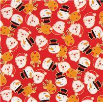 red cute santa snowman reindeer gold metallic fabric - Santa Snowman 2