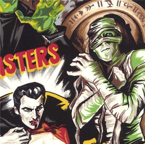 Bunter Stoff mit Monstern von Robert Kaufman - Halloween Stoffe ...