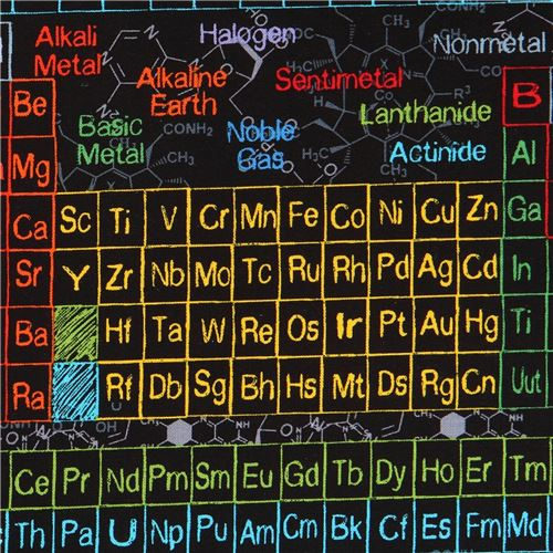 Black Fabric With Colorful Periodic Table Science By Timeless
