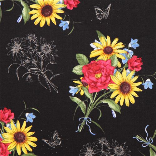Black flower fabric floral etchings quilting treasures flower black flower fabric floral etchings quilting treasures mightylinksfo