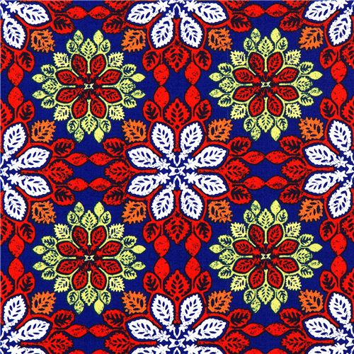 Blue Michael Miller Fabric With Colourful Leaf Patterns Flower Awesome Fabric Patterns