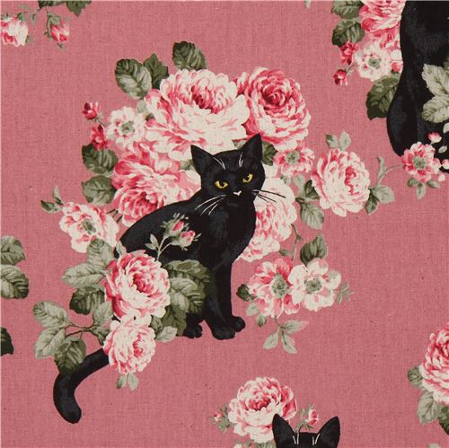 Cat canvas fabric from japan in pink purple flower fabric fabric cat canvas fabric from japan in pink purple mightylinksfo