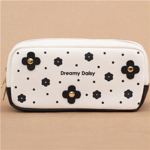 68da05f43bd ... newest 06f6e 5d504 cream black flower dot pencil case by Kamio from  Japan ...
