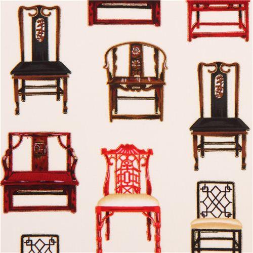 Cream Chair Retro Fabric Robert Kaufman Asian Traditions