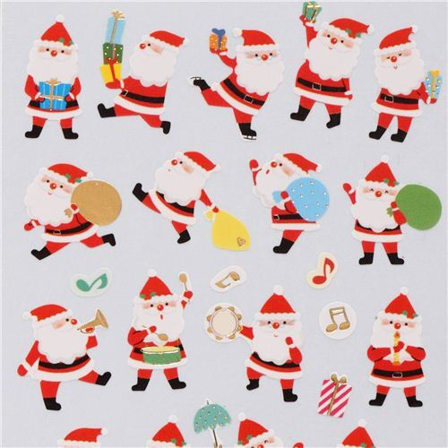 cute christmas presents music stickers with gold metallic from japan