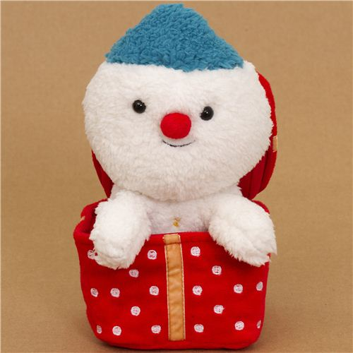 cute christmas snowman plush toy in christmas present - Christmas Stuffed Animals