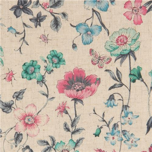 Fabric in natural color with green and pink flowers flower fabric fabric in natural color with green and pink flowers mightylinksfo