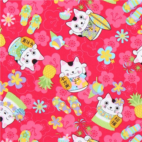 Fuchsia cute lucky cat flower fabric trans pacific textiles animal fuchsia cute lucky cat flower fabric trans pacific textiles mightylinksfo