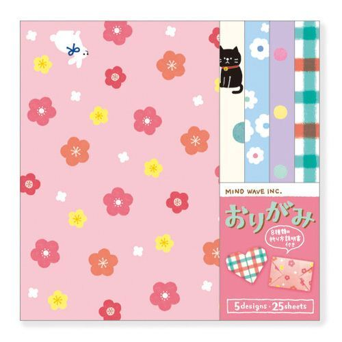 Kawaii 5 Design Paper Rabbit Checkered Origami Note Pad From Japan