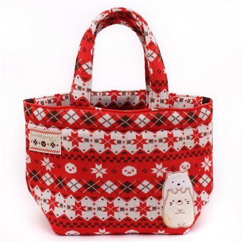 red norwegian christmas san x sumikkogurashi shy animals handbag - Christmas Purses Handbags