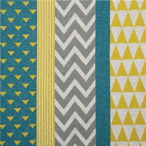 teal yellow triangle stripe geo Jacquard echino fabric ...