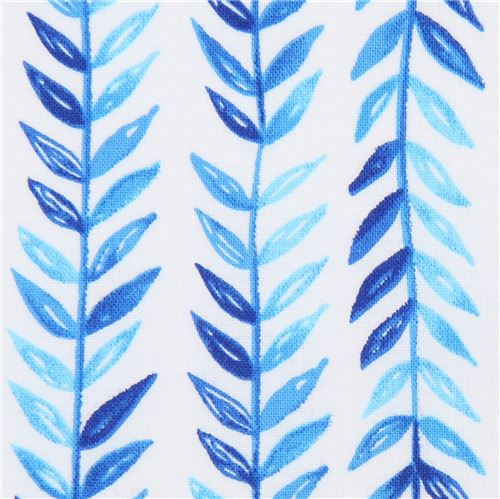 wei er stoff mit blauen bl ttern von michael miller blumenstoffe stoffe kawaii shop modes4u. Black Bedroom Furniture Sets. Home Design Ideas
